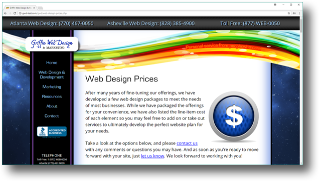 At Griffin Web Design, we publish our complete web design price list.